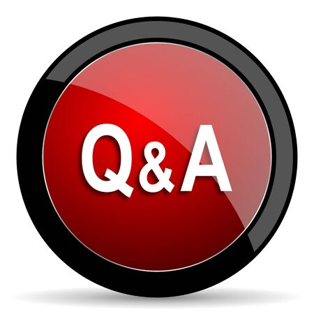 question and answer: question answer red circle glossy web icon on white background - set440 Stock Photo