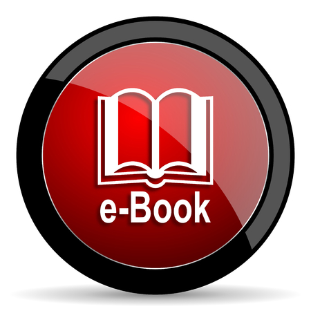reading app: book red circle glossy web icon on white background - set440