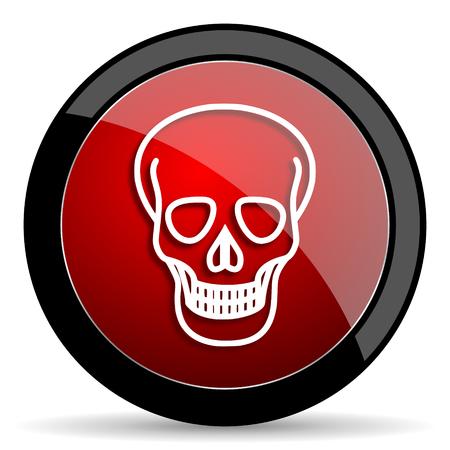 pirating: skull red circle glossy web icon on white background - set440