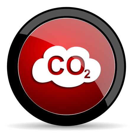 carbon dioxide: carbon dioxide red circle glossy web icon on white background - set440