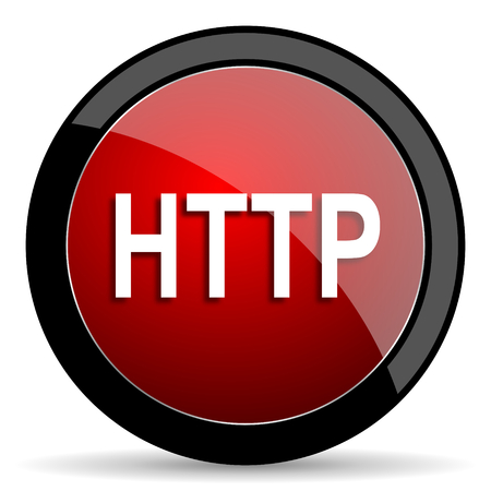 http: http red circle glossy web icon on white background - set440 Stock Photo
