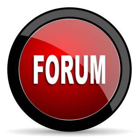 people discuss: forum red circle glossy web icon on white background - set440 Stock Photo