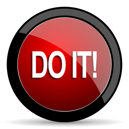 just do it: do it red circle glossy web icon on white background - set440