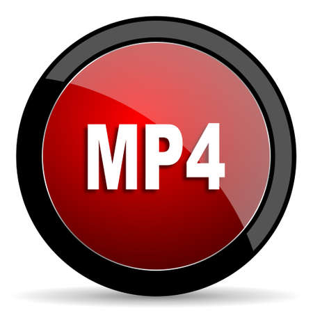 mp4: mp4 red circle glossy web icon on white background - set440