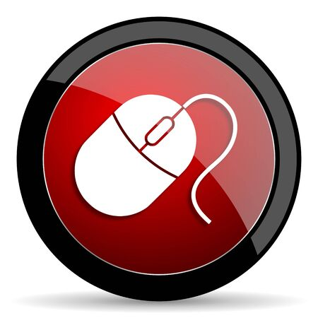 computer mouse icon: mouse red circle glossy web icon on white background - set440 Stock Photo