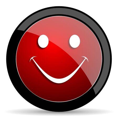 yea: smile red circle glossy web icon on white background - set440