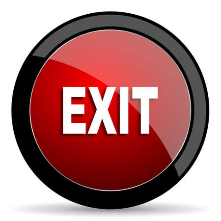 emergency exit label: exit red circle glossy web icon on white background - set440 Stock Photo