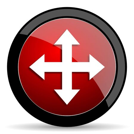 sterring: arrow red circle glossy web icon on white background - set440