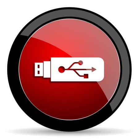 usb pendrive: usb red circle glossy web icon on white background - set440 Stock Photo