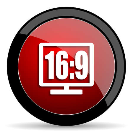 16 9 display: 16 9 display red circle glossy web icon on white background - set440 Stock Photo