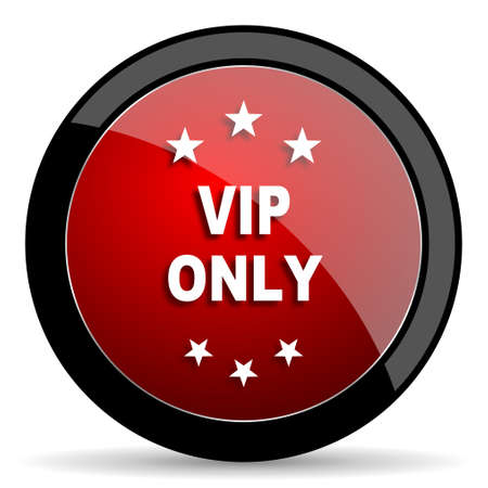 privilege: vip only red circle glossy web icon on white background - set440 Stock Photo