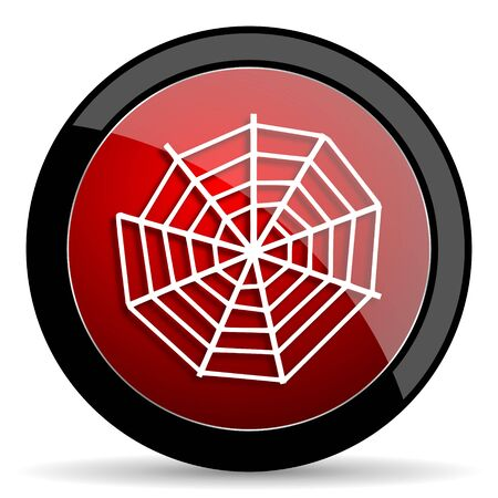 spider web: spider web red circle glossy web icon on white background - set440
