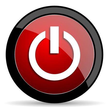 run off: power red circle glossy web icon on white background - set440 Stock Photo