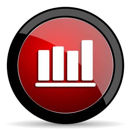 economic interest: bar chart red circle glossy web icon on white background - set440 Stock Photo