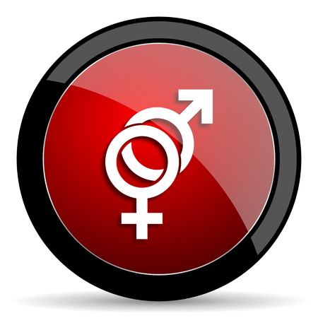 nude black woman: sex red circle glossy web icon on white background - set440