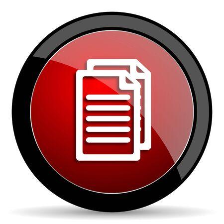folio: document red circle glossy web icon on white background - set440