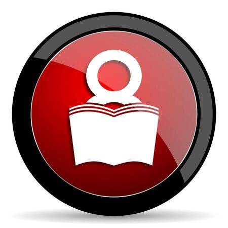 bibliophile: book red circle glossy web icon on white background - set440