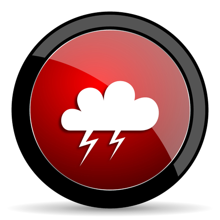 storm red circle glossy web icon on white background - set440