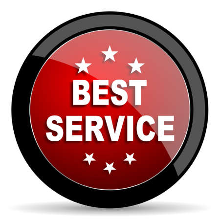 best service: best service red circle glossy web icon on white background - set440 Stock Photo