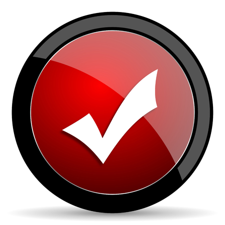 yea: accept red circle glossy web icon on white background - set440