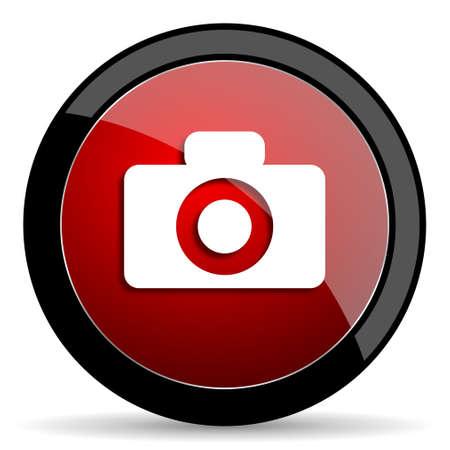 picto: camera red circle glossy web icon on white background - set440 Stock Photo