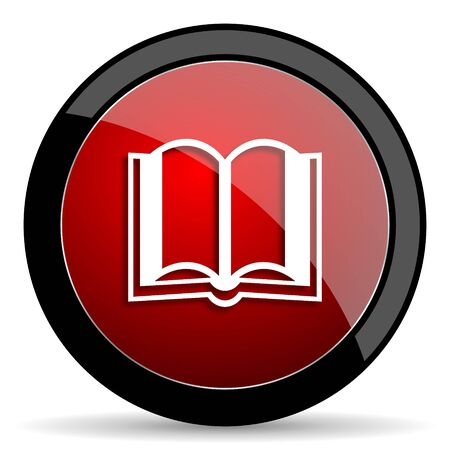 guestbook: book red circle glossy web icon on white background - set440