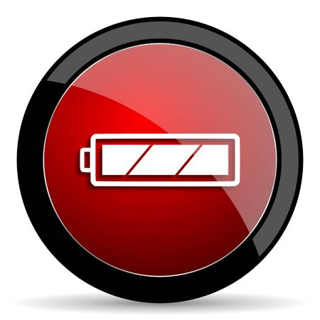 accuse: battery red circle glossy web icon on white background - set440