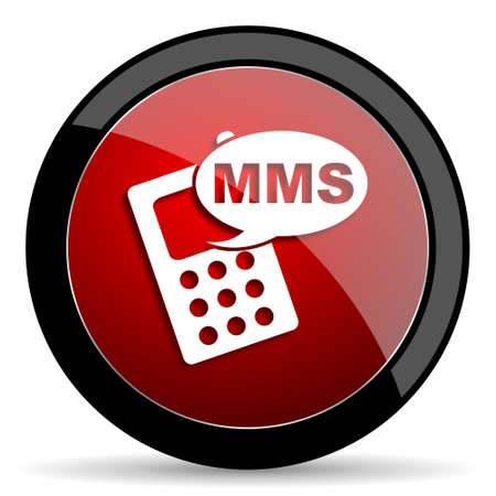 mms: mms red circle glossy web icon on white background - set440