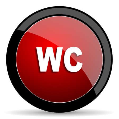 toilette: toilet red circle glossy web icon on white background - set440