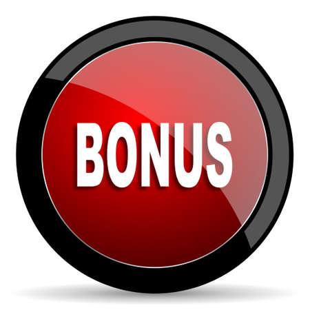 extra money: bonus red circle glossy web icon on white background - set440 Stock Photo
