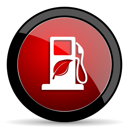 biofuel: biofuel red circle glossy web icon on white background - set440
