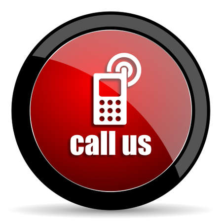 call us: call us red circle glossy web icon on white background - set440