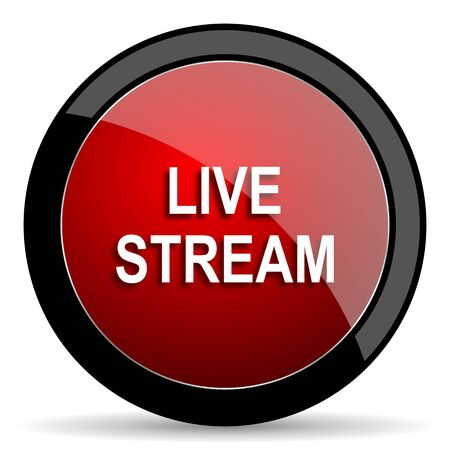 news cast: live stream red circle glossy web icon on white background - set440