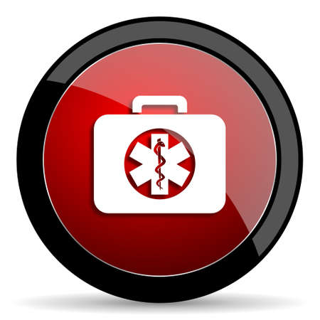 rescue circle: rescue kit red circle glossy web icon on white background - set440 Stock Photo