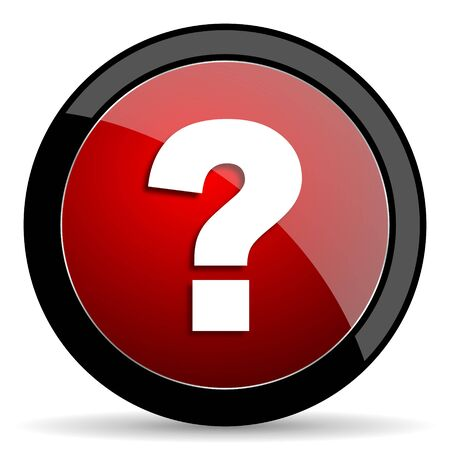 questioning: question mark red circle glossy web icon on white background - set440