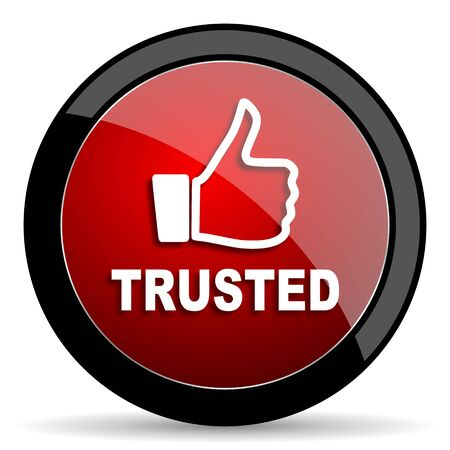 trusted: trusted red circle glossy web icon on white background - set440 Stock Photo