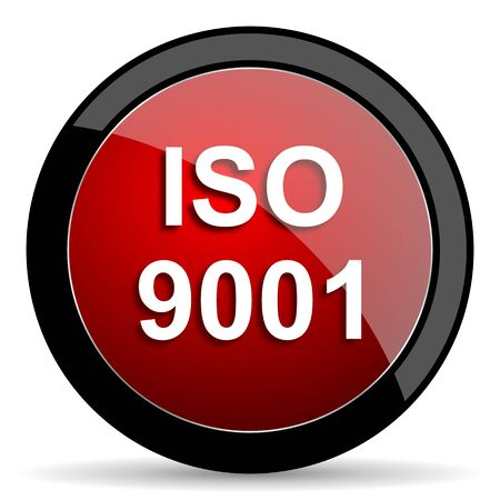 din: iso 9001 red circle glossy web icon on white background - set440 Stock Photo