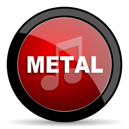 metal music: metal music red circle glossy web icon on white background - set440