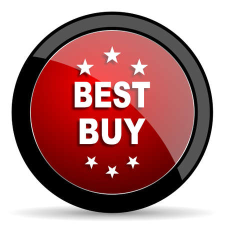 best buy: best buy red circle glossy web icon on white background - set440