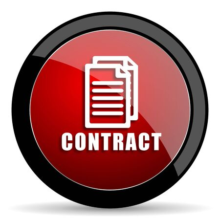 contraction: contract red circle glossy web icon on white background - set440 Stock Photo