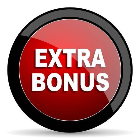 extra money: extra bonus red circle glossy web icon on white background - set440