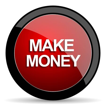 make money: make money red circle glossy web icon on white background - set440