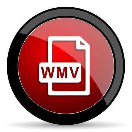 wmv: wmv file red circle glossy web icon on white background - set440