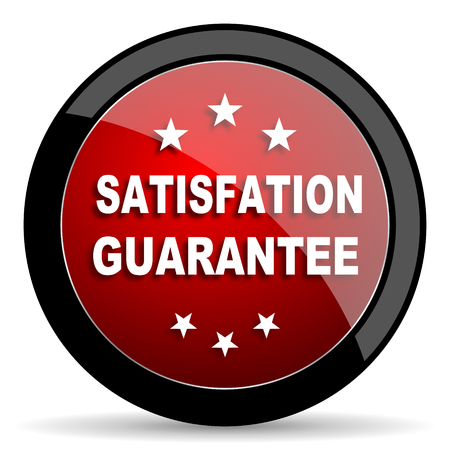 satisfaction guarantee: satisfaction guarantee red circle glossy web icon on white background - set440