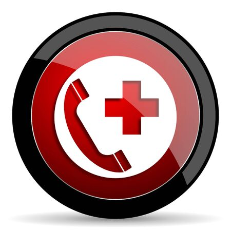 emergency call: emergency call red circle glossy web icon on white background - set440
