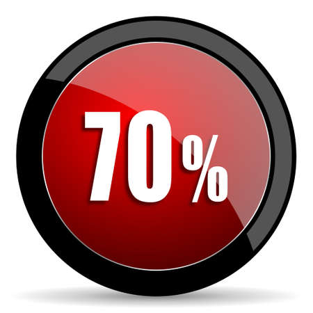 bargains: 70 percent red circle glossy web icon on white background - set440 Stock Photo