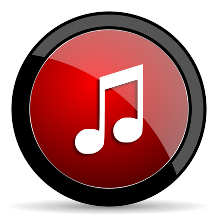 melodic: music red circle glossy web icon on white background - set440