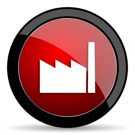 industrial complex: factory red circle glossy web icon on white background - set440 Stock Photo