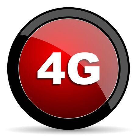 4g: 4g red circle glossy web icon on white background - set440