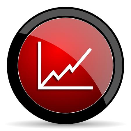 economic interest: chart red circle glossy web icon on white background - set440